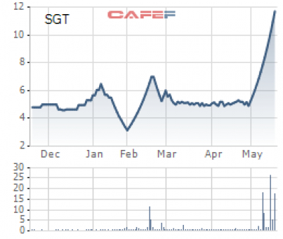 SGT's shares gained to the ceiling price for 13 consecutive sessions after announcing extraordinary profit